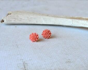 Pink Flower Earrings- Titanium Flower Studs- Light Pink Posts- Titanium Earrings- Dahlia Flower Earrings- Hypoallergenic Studs- Girl Gift