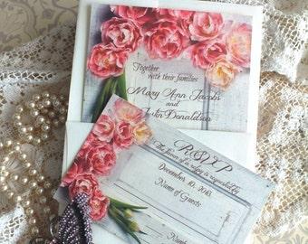 Vintage Romantic Wedding Invitation with Tulips/Flowers Handmade by avintageobsession on etsy