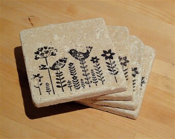Two Birds and Their Flowers--Set of 4 Coasters
