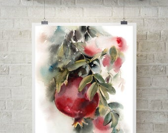 Pomegranates Fine art print, pomegranates watercolor painting print, red fruits kitchen wall art print