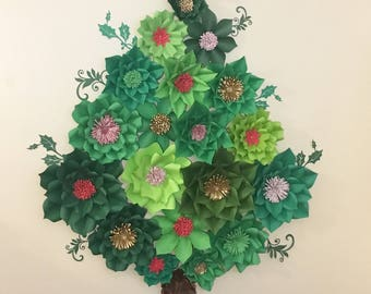 Paper Flowers - 6ft Christmas Tree - Paper Flower Tree -Paper Flower Ornaments - Holiday Decor - Holiday Backdrop - Christmas Decorations