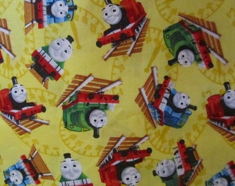 Yellow Thomas Train Toss Cotton Fabric By The Yard
