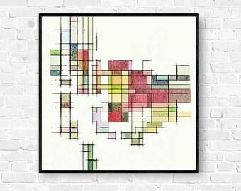 Mid Century Modern, Geometric Wall Art, Modern Art Print, Atomic Age, Retro Wall Art, Abstract Art Print, Mid Century Print, Geometric Art