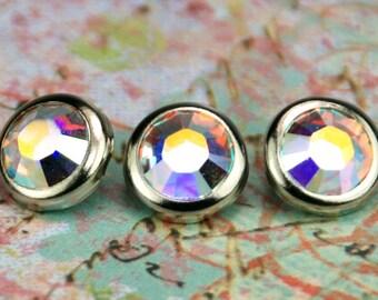 10 Snaps de cheveux cristal Aurora Borealis - ronde argent jante édition--faite avec des strass Swarovski Element