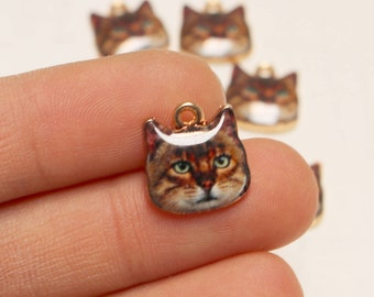 set of 5, cat charm, cat face charm, brown cat charm, gold charm, cute pet charm, animal charm, bright gold, 13mm x 13mm