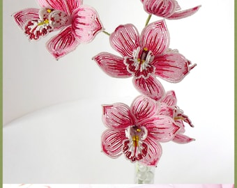 PDF PATTERN - French Beaded Cymbidium Orchid, seed bead flowers, frech beaded flowers, tutorial