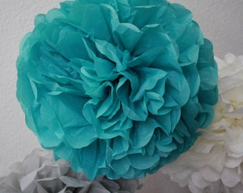 Tissue Paper Pom Pom - Carribean Teal - Dark Aqua- Nursery - Birthday - Christening - Baptism - Wedding Decor