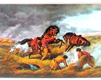 Life on the Prairie - The Trapper's Defense - Small Currier and Ives Print - 1980 Vintage Book Page