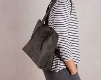 Leather Tote bags, GRAY leather bags, shoulder bags, leather shoulder bag, handmade leather bag, gray tote bags, zipper leather bag, hobo