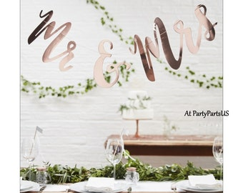Mr. & Mrs. bunting, rose gold wedding decorations, banner, engagement party, anniversary, bridal shower, reception decor, wall hanging
