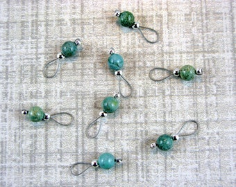 African Jade Stitch Markers On Silver Wire - US 5 - Item No. 546