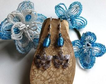 Earrings blue silver Venetian mask / gift idea for woman