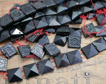 Antique Mourning Glass Jet Glass Beads 10mm Square Pyramid (12 beads) JET147