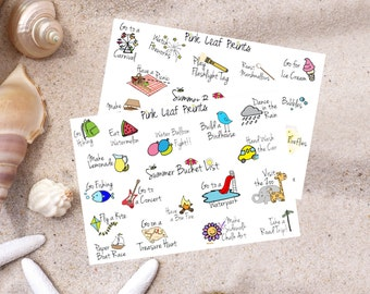 Summer Bucket List Doodles Planner Stickers