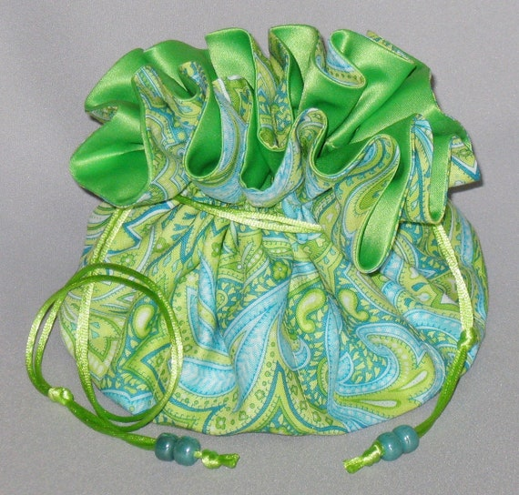 Jewelry Drawstring Travel Tote---Lime Green Paisley Organizer Pouch---Large Size