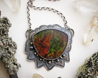ON SALE! The Magic of Trees Necklace - Ammolite, 14K Gold, & Sterling Silver Pendant - Silversmith Statement Jewelry - Silver Leaf Necklace