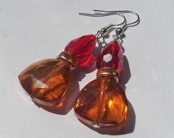 Red Crystal Earrings , Orange Crystal Earrings , Silver Earrings , Red Earrings , Orange Earrings , Handmade Jewelry , Diamante , Gift