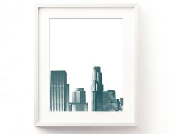 DTLA wall art, blue apartment decor, LA skyline print, downtown Los Angeles illustration, California instant art, digital download, jpg