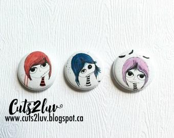 "3 Badges 1"" Fillettes zombies"