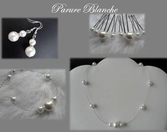 Pearls bridal set white oOo wedding jewelry