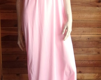 Vintage Lingerie 1960s FIRST LADY Pink Size Small Nightgown with Beige Lace