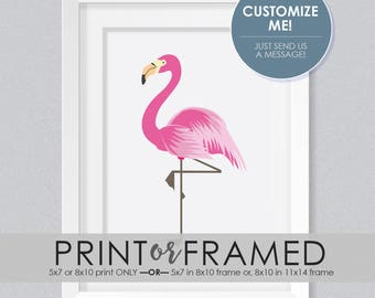 Flamingo PRINT or FRAMED PRINT | Island | Pink | Nursery Print | Shower Gift | Baby Gift | Tropical Birds | New Baby | Mix + Match Prints