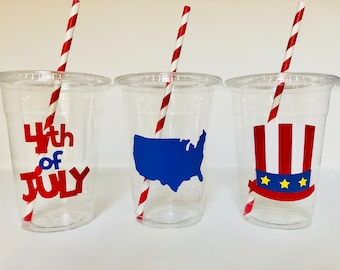 4th of July Party Cups, Fourth of July Party Cup, Independence Day Party, 4th of July birthday Party, Firework Party