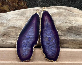 Purple Agate Slice, Purple Agate Slice Pair, Purple Geode Slice Pair, Purple Geode Slice, Purple Agate Slice, Dyed, Gold Plated, PG3810B