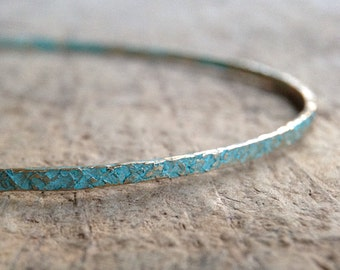 Patina Bangle, Stackable Bangle, Turquoise Bangle, Rustic Bangle, Turquoise Bracelet, Patina Bracelet, Gift for Her, Boho Luxe Jewelry