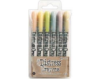 Ranger Set #8 Tim Holtz Distress Crayon Kit, 6 Color Assortment
