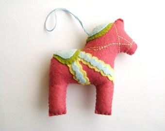 Pink Dala Horse Felt Christmas Ornament - Swedish, Scandanavian, Nordic