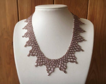 Lilac Vintage Style Netted Beaded Statement Necklace
