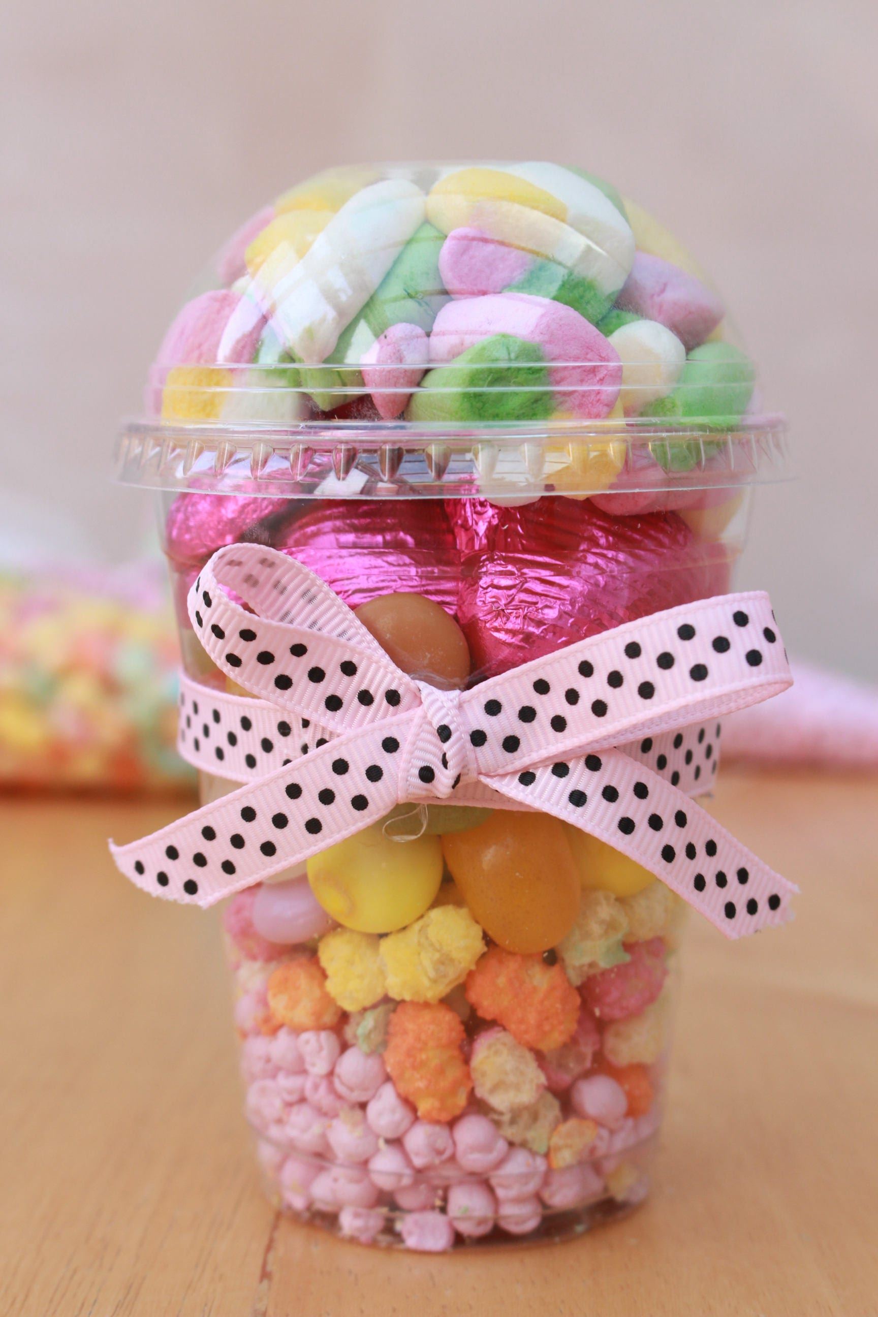 Sweet Filled Cup Pink Themed Sweets Party Bag Birthday Bag