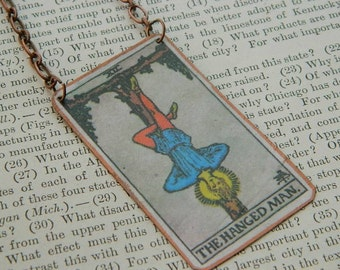 Tarot necklace pendant tarot jewelry The Hanged Man mixed media jewelry supernatural