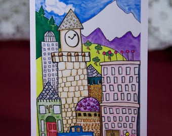 Thinking Of You Blank Card Illustrated City View, Cityscape Folded Card with Envelope and Plastic Sleeve - GC401