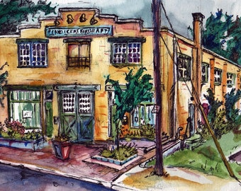 Art Prints of Collingswood New Jersey - Local Art Center - Reproduction of Original Watercolor Painting - Signed Print - Yellow Building Art