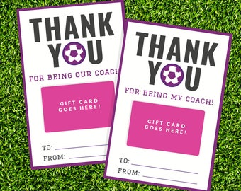 Soccer Coach Gift Card Holder - Printable Thank You Gift Card Holder - Instant Download - Printable 4x6 PDF - Purple Team