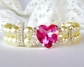 Valentine gift / Pink heart rhinestone / Double strand pearl bracelet / gift for her / Swarovski crystal / Mother's Day gift