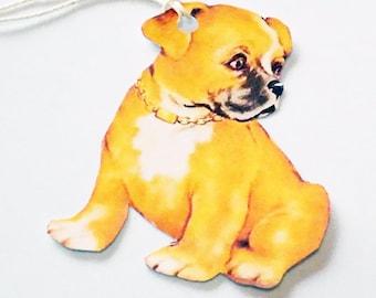 Brown Retro Dog  - Gift Tags - Set of 3 - Black Muzzle Dog - Cute Retro Dog - Pet Tags - Vintage Dog - Animal Tags - Mid Century Dogs