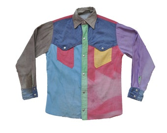 Vintage 1960s Obermeyer Patchwork Spring Ski Western Shirt // L // Gaper // Colorado // Alpine // Steamboat // Vail // Aspen // Snowboard