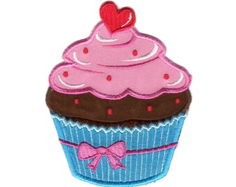 Cupcake Pink / Blue  Iron-On Patch Applique - Kids / Baby