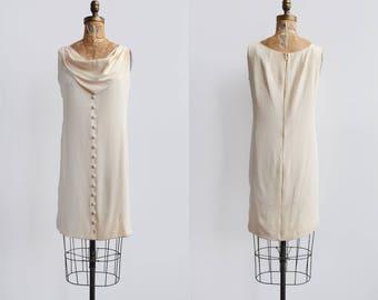 SALE! Magnolia Dress / 1960s silk shift dress / vintage cream cowl dress