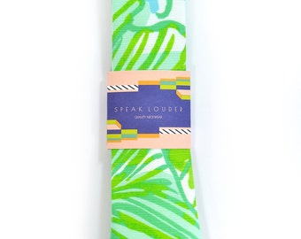 Green jungle tropic necktie - Wedding Mens Tie Skinny TROPICAL TIE Laid-Back necktie