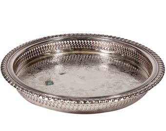 """FREE SHIPPING: Vintage WM Rogers Round Silverplate Tray - 9 1/2"""" Pierced Side Incised MidCentury Silver Serving Dish"""