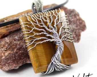 ON SALE! Tree of Life Necklace / Wire Wrapped Jewelry / Tiger Eye / Wire Wrapped Tree / Sterling Silver Pendant / Yggdrasil / Handcrafted