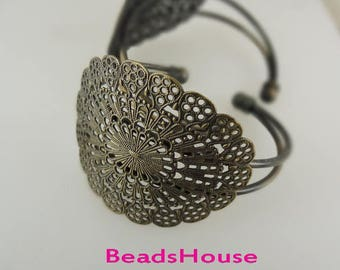 20%off CB-02-Ant  2pc Antique Brass Large Filigree Cuff  Bracelet- Antique Brass