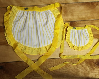 Apron Set for Toddler and a Doll!  Cute Cricket Applique! Sunshine Yellow- So Cute!  Ships Free!