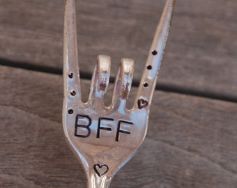BFF Hand Stamped Flower Pot herb or House Plant marker hearts and dots Great for Best Friend gift