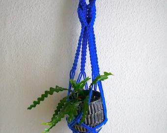 Blue Macrame Plant Holder, Plant Hanger, Macrame Planter, Blue Plant Holder, Vertical Garden, Indoor Garden,