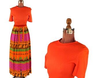 Vintage 1970's Bright Orange Mod Op Art Abstract Floral Print Long Maxi Hippie Dress S
